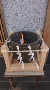 小千谷・石動神社・お焚き上げ・忌火・形代・人形・大祓・浄火・火鉢