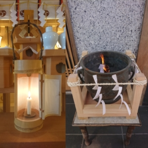 小千谷・石動神社・お焚き上げ・忌火・形代・人形・大祓・浄火・火鉢・行灯