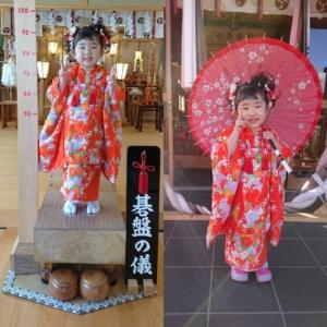 小千谷・石動神社・七五三・碁盤の儀・和傘・面綱・記念・写真・撮影